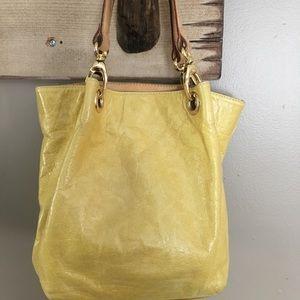 Maurizio Taiuti Yellow Leather Satchel Handbag